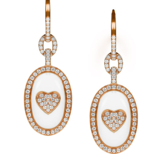 Avakian, First Love Earrings in pink gold with white diamonds and white agate