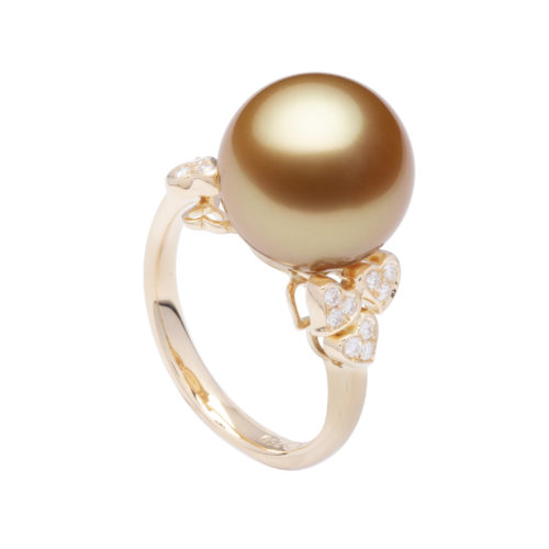 Jewelmer, Petit Coeurs ring with golden South Sea Pearls adorned with hearts in yellow gold and diamonds