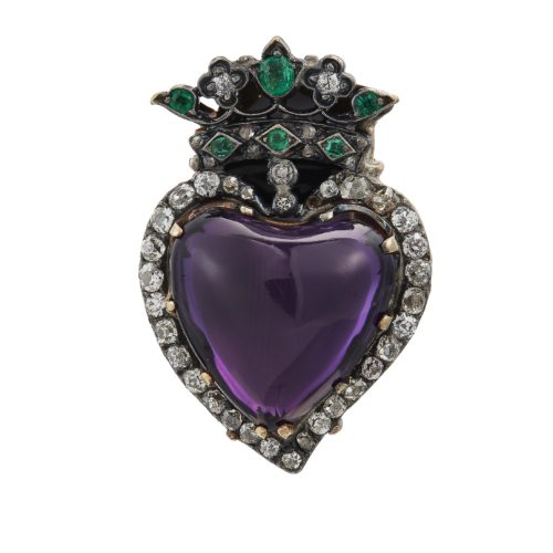 AMETHYST, DIAMOND AND EMERALD RING ESTIMATE: $1,000 - $1,500