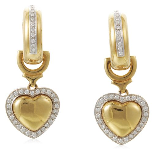 DIAMOND AND GOLD HEART EARRINGS ESTIMATE: $1,500 - $2,000