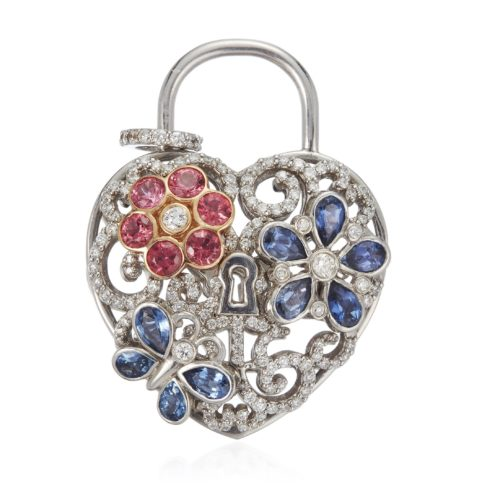 DIAMOND AND MULTI-GEM HEART PENDANT ESTIMATE: $1,000 - $1,500