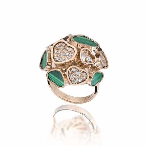 Chopard, Happy Hearts ring in pink gold with malachite and diamonds