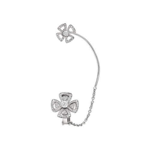 Bulgari, Fiorever earring in classic flower motif in white gold with diamonds