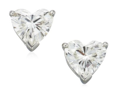 TIFFANY & CO. HEART SHAPED DIAMOND STUD EARRINGS ESTIMATE: $3,000 - $5,000